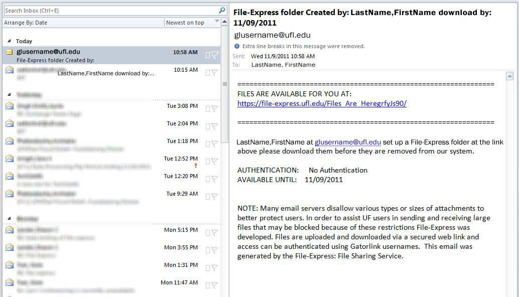 Example of Email Notification from File-Express